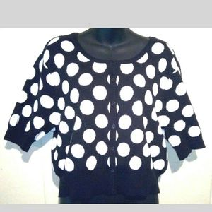 Torrid 1 Black white polka dot cropped sweater